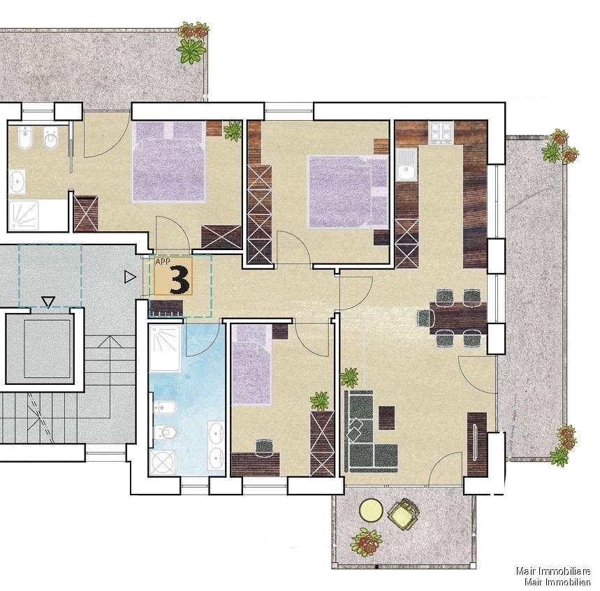 Piantina app. n. 3 - Plan Wohnung Nr. 3